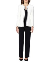 Tahari By Arthur S. Levine Beaded Open Jacket And Pant Suit Cloud White