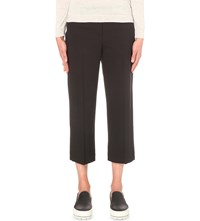 Brunello Cucinelli Slim Fit Cropped Wool Blend Trousers Black