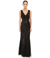 Marchesa Sleeveless V Neck Gown With Sequin And Ribbon Embroidery Black