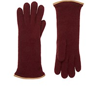 Barneys New York Women's Leather Trimmed Cashmere Gloves Burgundy