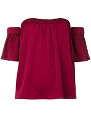 Milly Off Shoulders Ruffled Sleeves Blouse Red