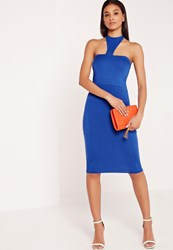 Missguided Jersey Halter Neck Bodycon Midi Dress Blue Blue