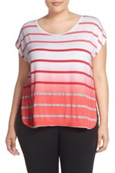 Pink Lotus 'Caution' Ombre Stripe Tee Plus Size Pink