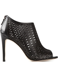 Lola Cruz Laser Cut Pattern Peep Toe Booties