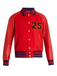 Gucci Chenille Applique Wool And Leather Bomber Jacket Red