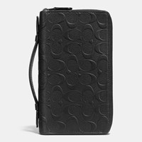Coach Double Zip Travel Organizer In Signature Crossgrain Leather Black