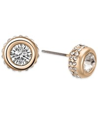 T Tahari Gold Tone Crystal Stud Earrings