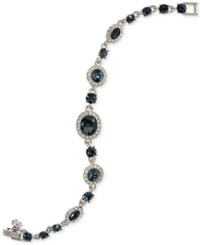 Givenchy Faceted Stone And Pave Link Bracelet Navy Blue