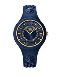 Versus By Versace Fire Island Stainless Steel Silicone Strap Watch Soq090016 Blue