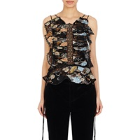 Ruffled And Ruched Fil Coupe Blouse Black