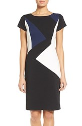 Ellen Tracy Petite Women's Colorblock Ponte Sheath Dress Black Navy