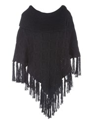 Jane Norman Cable Knit Poncho Jumper Black