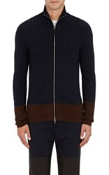 Paul Helbers Men's Rib Knit Cashmere Blend Zip Front Sweater Navy Brown Navy Brown