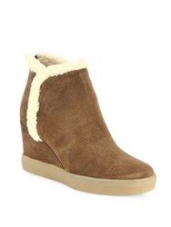 Aquatalia By Marvin K Charlie Suede And Faux Fur Wedge Booties Chestnut Black