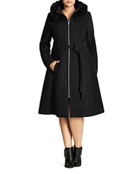 City Chic Miss Mysterious Faux Fur Trimmed Belted Coat Black
