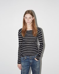 R 13 Cashmere Tee Black White Stripe