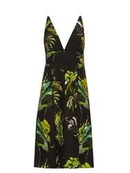 Proenza Schouler Tropical Print Cut Out Dress Black Print