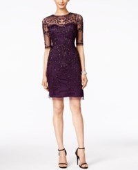 Adrianna Papell Short Sleeve Beaded Dress Amethyst