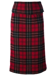 Tricot Comme Des Garcons Vintage Tartan High Waisted Skirt Red