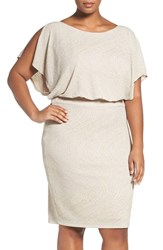 Sangria Plus Size Women's Glitter Knit Blouson Dress