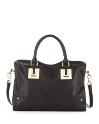 French Connection Arden Faux Leather Zip Satchel Bag Black