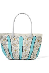 Sophie Anderson Canasta Leather Trimmed Crocheted Cotton Tote Turquoise