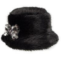 Dents Women S Faux Fur Bucket Hat With Bow Black