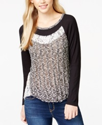 Almost Famous Juniors' Long Sleeve Contrast Top