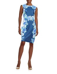 Chetta B Floral Sheath Dress Ink China Blue