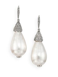 Oscar De La Renta Bridal Faux Pearl And Crystal Teardrop Earrings
