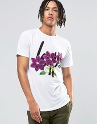Hype T Shirt With Floral Logo And Back Print White