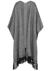 J. Lindeberg Meora Monochrome Chunky Knit Poncho White And Black