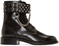 Saint Laurent Black Leather Motorcycle Patti Boots