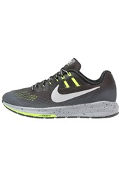 Nike Performance Air Zoom Structure 20 Shield Stabilty Running Shoes Black Metallic Silver Dark Grey Wolf Grey Volt