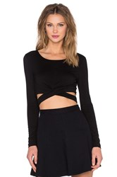 Lovers Friends X Revolve Olympic Long Sleeve Crop Top Black