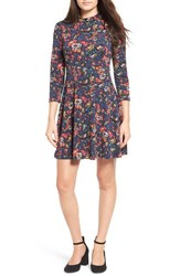 Lush Women's Floral Print Mock Neck Skater Dress Navy Floral