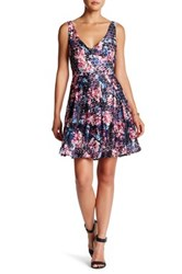 Betsey Johnson Printed Lace Fit And Flare Dress Blue