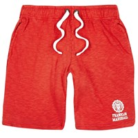 River Island Mens Red Franklin And Marshall Print Jersey Shorts