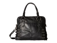 Frye Selena Belted Zip Satchel Black Vintage Leather Satchel Handbags