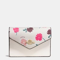 Coach Envelope Card Case In Daisy Field Print Coated Canvas Light Gold Daisy Field Chalk