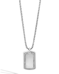 Classic Silver Chain And Diamond Dog Tag Necklace John Hardy