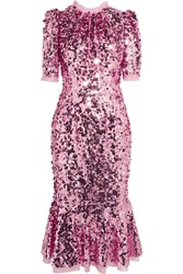 Dolce And Gabbana Sequined Tulle Midi Dress Baby Pink