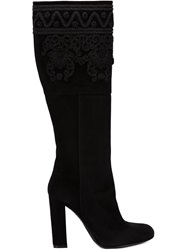 Etro Embroidered Detail Knee Boots Black