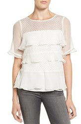 Ella Moss Women's 'Nikkita' Ruffle Silk Lace Top Natural