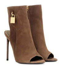 Tom Ford Embellished Suede Ankle Boots Brown