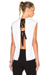 Marni Cotton Jersey Tie Back Shirt In White