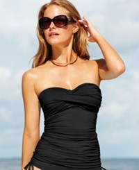 Anne Cole Twist Front Ruched Tankini Top Women's Swimsuit Black
