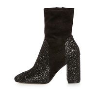 River Island Womens Black Glitter Heel Ankle Boots