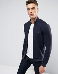 Armani Jeans Track Jacket In Slim Fit Waffle Jersey Navy
