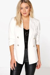 Boohoo Lined Double Breasted Blazer Ivory